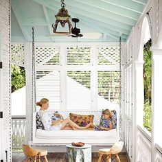 """If you spent summer evenings strolling around the neighborhood, you may have noticed a place where blue ceilings abound: the front porch. In some regions of the southern U.S., there's even a name for the light blue used in this context: haint blue. (Sherwin Williams actually has a dusty-blue paint color by this name.) """"Haint"""" is the word for """"spirit"""" or """"ghost"""" in Gullah, a Creole dialect of enslaved Africans who lived in coastal Georgia and Southern Carolina in the 18th and 19th centuries…"""