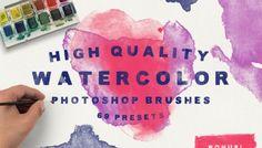 69 Watercolor Photoshop Brushes + Bonus 11 Textures