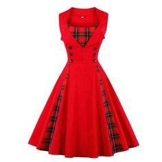OTEN 2018 Women size big tartan dress Summer Tunics Vintage Sleeveless Red  Plaid Print Button Rockabilly party sexy Pin up dress 58b869276d8