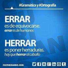 #Gramática y #Ortografía: Usos correctos y diferencias entre #Errar y #Herrar