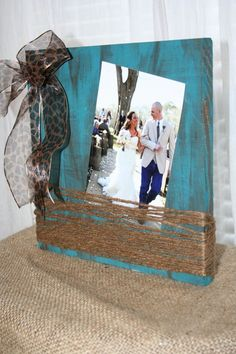 Rustic twine and burlap picture frame   diy   Pinterest   Twine ...