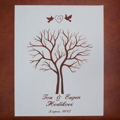 Svatební dvojstrom © 30x40 Tentokrát dva stromky u sebe. Ručně malovaný strom hostů. Není to tisk. Každá malba je originál. Připravený pro otisky prstů hostů = lístečky na stromě :-). Doporučuji objednat si barevné polštářky. Jelikož je malba na silném kartonu + plátno , obrázek se nemůže pomačkat :-) Rozměr: 30 x 40 x 0,3 cm Pod stromem budou na přání ...