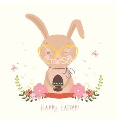 Easter day background or card vector rabbit bunny- by terua on VectorStock®