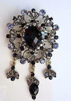 Sparkling Large Dangle Vintage style Brooch Pin by rosecarmen, $8.95