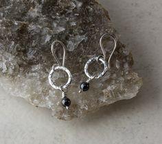 Textured Silver Hoop Earrings with Black Swarovski® Pearl Dangles £26.00