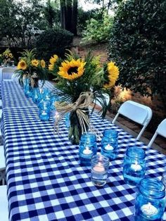Blue and White Table | Romantic Summer Date Ideas for Couples