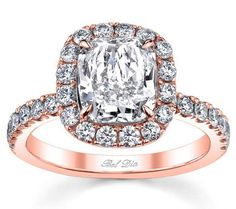 cushion cut rose gold diamond halo engagement ring, how beautiful is this?!? wow! O.O