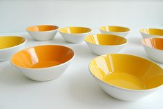 9 Yellow and Orange Ben Seibel Ceramic Bowls by MonkiVintage