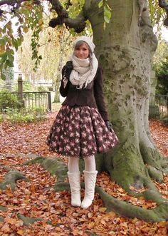 """tales-of-a-danish-lolita: """" I had the loveliest day yesterday. Skirt: IW Jacket and scarf are thrifted Everything else is random offbrand """" Brolita, White Tights, Lolita Dress, Steampunk Fashion, Really Cool Stuff, Harajuku, Cool Outfits, Vintage Fashion, Ballet Skirt"""