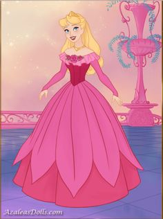 Princess Aurora in her new and beautiful dress in pink from Fairytale Princess dress up game