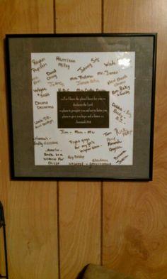 My prayer board...glass frame...scrapbook paper...dry erase marker.