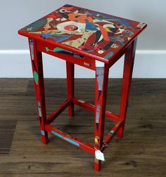 "Red Hand Finished Decoupage Retro Sidetable with Detail from ""Miro"" Paintings 