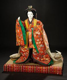 "The Doll Collection of Huguette Clark: 50 Japanese Ningyo as Bugaku Court Dancer from ""The Tale of Genji"", Original Wooden Box Antique Lace, Rare Antique, All Black Suit, Vintage Japanese, Japanese Doll, Asian Doll, Bisque Doll, Hair Ornaments, Miniature Dolls"