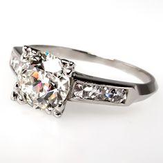Art Deco Old Euro Diamond Engagement Ring Platinum 1930's. $7199.  J, VS2, 1.10 carats
