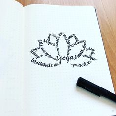 Bullet journal word art, lotus flower drawing, bullet journal yoga page. | @yogis_bujo