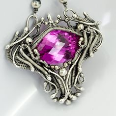 Fine Silver Pink Topaz Necklace Guinevere by sarahndippity on Etsy