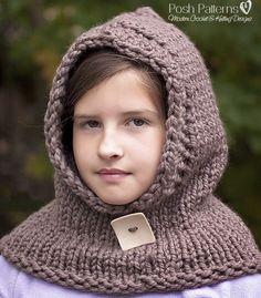 Knitting Patterns - Knit Hooded Cowl - Hooded Scarf - Knit Hooded Scarf Pattern - Includes Babies, Toddler, Child, Adult Sizes - PDF 386 by PoshPatterns on Etsy https://www.etsy.com/listing/207105614/knitting-patterns-knit-hooded-cowl