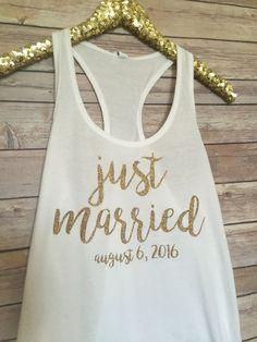 Bride Tank Honeymoon Shirt Just Married Tank by EllaJayDesign