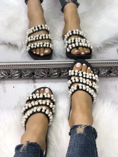 Shop Shiny Embellished Thick Strap Flat Sandals right now, get great deals at joyshoetique Cute Sandals, Flat Sandals, Cute Shoes, Women's Shoes Sandals, Stylish Sandals, Sandals Outfit, Pretty Sandals, Rhinestone Shoes, Estilo Fashion
