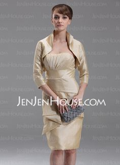Sheath Strapless Knee-Length Taffeta Mother of the Bride Dresses With Ruffle (008006232) - JenJenHouse en