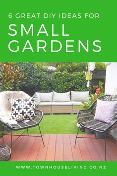6 Great ideas for a low-maintenance urban garden ~ Home Squared Small Space Gardening, Small Gardens, Outdoor Sofa, Outdoor Furniture Sets, Outdoor Decor, Townhouse, Small Spaces, Urban, Blog
