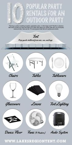 Wedding Checklist 10 Most Popular Party Rental Items for Outdoor Parties - do you have everything you need for your next party? Event Rental Business, Event Planning Business, Business Ideas, Event Planning Tips, Wedding Planning Checklist, Quinceanera, Outdoor Wedding Reception, Outdoor Weddings, Outdoor Events