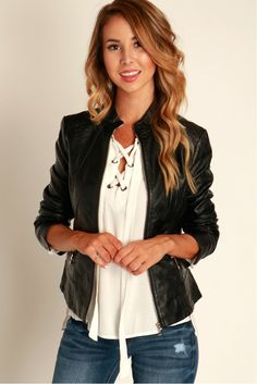 Too Cool For School Vegan Leather Jacket Black