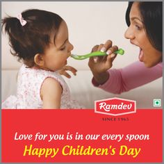 Love for you is in our every spoon, for you give meaning to our present and strength to our future. Happy Children's Day.    #Ramdev #ChildrensDay #Celebrations