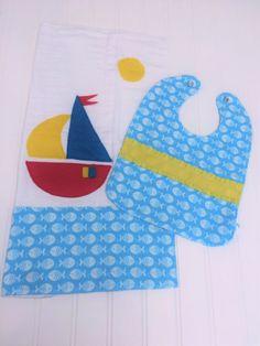 $18. Nautical burp cloth and bib set with appliqued sail boat and schools of fish. OliviaLawsonDesigns.etsy.com