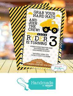 Construction Invitations | Construction Birthday Invitations | Dump Truck Birthday Party Invitations | Custom Birthday Invitations from My Stylish Party http://www.amazon.com/dp/B01BRLGTK0/ref=hnd_sw_r_pi_dp_3dFexb1V325MX #handmadeatamazon