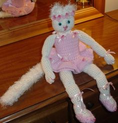 Crocheted Ballerina Cat by thecrafter on Etsy, $30.00