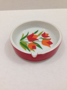 Vintage ceramic ashtray with red and by TheTravelingTortoise