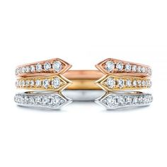 This elegant women's wedding ring features bright cut set diamonds running down the shoulders of the tapered white gold shank with an open top. Designed and created by Joseph Jewelry Diamond Wedding Bands, Diamond Rings, Red Gold, Pink And Gold, Wedding Rings For Women, White Gold Rings, Shank, Precious Metals, Custom Jewelry