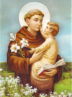 St Anthony of Padua, associated with Shango/Xangô in Brazil, as St Anthony is celebrated on 13 June, in the context of St John's feast June), which is associated with fire and light (winter solstice in Brazil). Oracion A San Antonio, Padua Italy, Saint Anthony Of Padua, Pictures Of Jesus Christ, Stained Glass Church, Orisha, Catholic Saints, St Francis, Mother Mary
