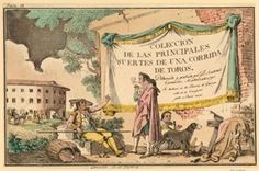 Bullfighter smoking standing whole-length in profile to left; picador, another bullfighter and dogs seated in front of a wall with curtain and inscription; skin of dead bull on a stool to right; bull-ring in the background; frontispiece for 'Colección de las principales suertes de una corrida de toros' (Madrid, 1790). 1790 Hand-coloured etching