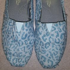 Blue Cheetah TOMS Probably worn 1-2 times Writing on insoles are worn off, but outside is not dirty at all TOMS Shoes Flats & Loafers