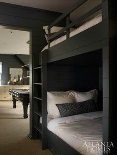 Guest idea: If the homeowners need extra space for overnight guests, custom double-wide bunk beds off the game room provide a luxe option. Black Bunk Beds, Bunk Beds Built In, Bunk Beds With Stairs, Kids Bunk Beds, Bunk Rooms, Bunk Bed Designs, Decoration Inspiration, Loft Spaces, Small Spaces