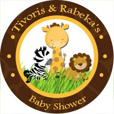 20+Safari+Personalized+Baby+Shower+Stickers+by+LilyPadInvitations,+$5.00