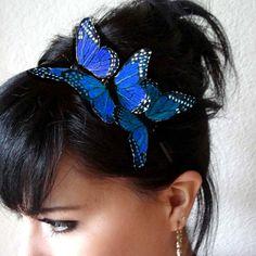 blue butterfly headband - feather butterfly headpiece - whimsical hair piece - women's headpiece - bohemian hair accessory - BRANDY