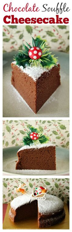 Chocolate Souffle Cheesecake – AMAZING, light, and the BEST cheesecake ever, get the easy recipe now! Would you like to make a holiday-themed cake [. Souffle Cheesecake Recipe, Best Cheesecake, Easy Cheesecake Recipes, Dessert Recipes, Easy Delicious Recipes, Sweet Recipes, Delicious Desserts, Yummy Food, Cupcakes