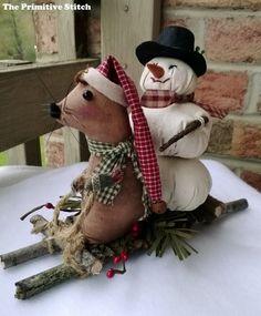 Primitive Sledding Mouse and Snowman by ThePrimitiveStitch on Etsy, $18.00