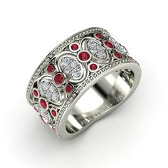 The Renaissance Band customized in Ruby, Diamond & White Gold