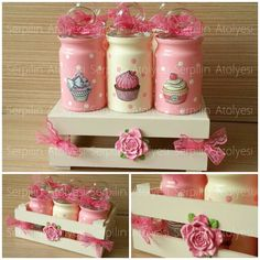 Vintage Pink Cupcake All-in-One Gewürzset mit Glasmalerei … - Cupcake Decoupage Vintage, Decoupage Jars, Decoupage Paper, Cupcake Vintage, Vintage Pink, Glass Bottle Crafts, Bottle Art, Mason Jar Gifts, Mason Jar Diy