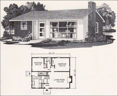 Retro Mid Century Modern Plan - Weyerhauser Design No. 4158 - Small House Plans I have seen these while traveling. The Plan, How To Plan, Small House Plans, House Floor Plans, Mcm House, Tiny House, Vintage House Plans, Cabin Plans, Mid Century House