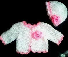 Crochet Baby Coat Sweater jacket cardigan hat  by paintcrochet, $45.00