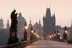 Sunrise over the Charles Bridge, Prague, Czech Republic Budapest, Pont Charles, Underground Bar, Train Tour, Prague Castle, Central Europe, Eastern Europe, Vienna, Spain