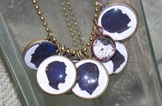 Custom Silhouette Large Bezel Necklace  3 Charms by AbbyJeanS, $40.00