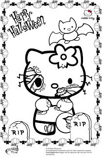 Hello Kitty Halloween Coloring Pages Interesting