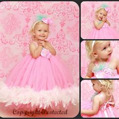 Cotton Candy Couture Little Girls Feather Tutu Dress