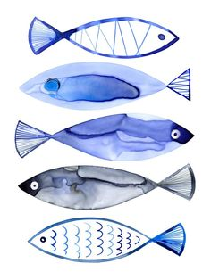 Retro Watercolour Fish Wall Mural
